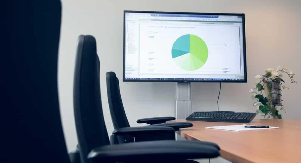 Besprechungsraum mit Grafiktabelle am Bildschirm